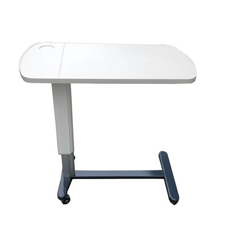 hospital style bedside table hospital white color bedside tray with wheels
