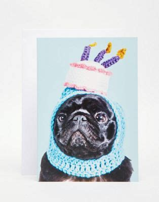 pug with birthday hat asos jolly awesome jolly awesome pug birthday hat card compare club