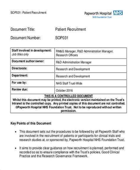 Patient Recruitment Plan Template 33 Sop Templates In Pdf Sle Templates