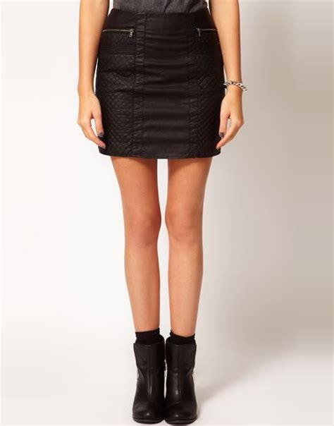 oasis leather look biker mini skirt in black lyst