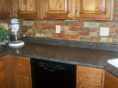 faux brick backsplash in kitchen faux brick wallpaper dime and a prayer