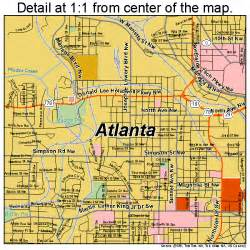 atlanta road map ga atlas poster print ebay