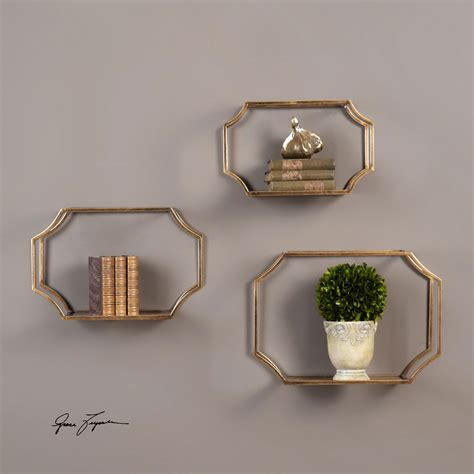 madison decorative wall ledge shelf set of 3 espresso lindee gold wall shelves set of 3 uttermost wall shelves