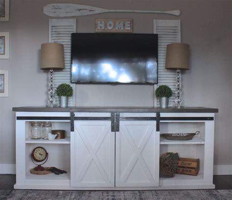 barn door cabinet diy sliding barn door console diy projects living room