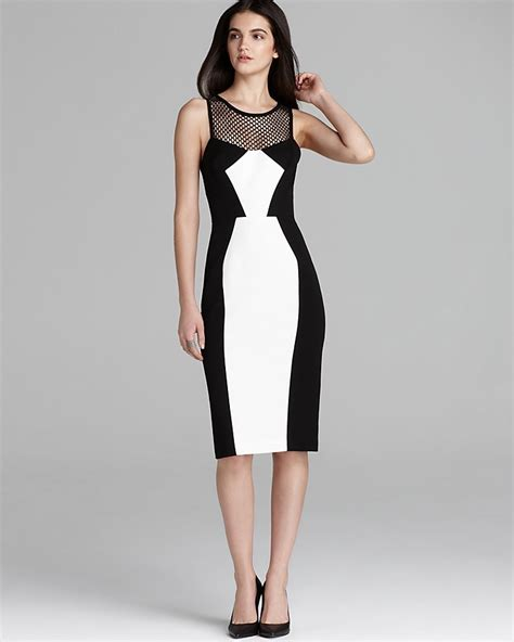 black and white color block dress black halo sleeveless illusion neckline color block sheath