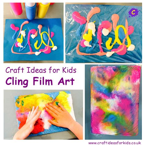 painting ideas for kids cling film art craft ideas for kids