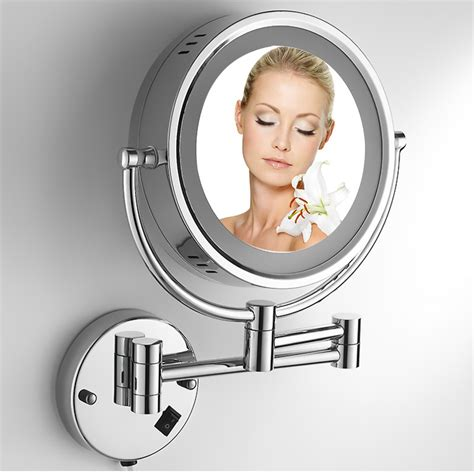 retractable bathroom mirror 8 inches 220v led copper beauty mirror bathroom