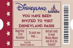 printable invitation to disneyland paris personalised disney ticket style disneyland paris invites