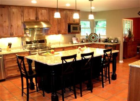 large kitchen island with eating and entertaining space