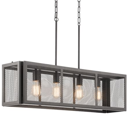 pendant lighting at lowes shop kichler saybridge 36 in bronze industrial linear cage