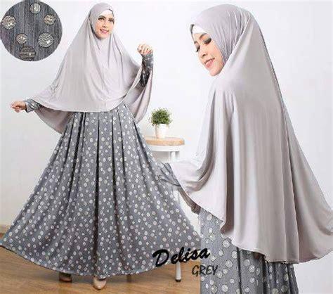 Baju Muslim Gamis Elisa Syari model baju gamis syari motif kekinian terbaru delisa abu