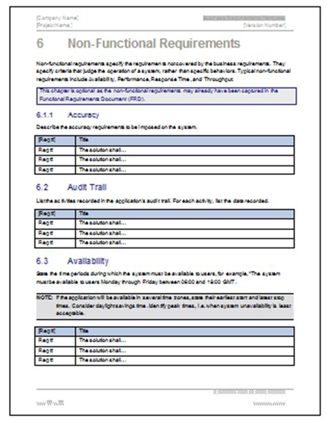 business requirements template business requirements specification template ms word