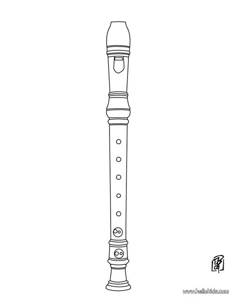 musical instrument coloring pages flute