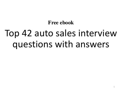 top 10 auto sales questions with answers