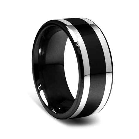 9mm black titanium men s ring with silver inlay a great