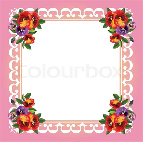 Flower Decoration In Home by Vector Frame With Beautiful Flowers Stock Vector Colourbox