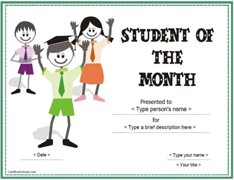 free printable student of the month certificate templates education certificates student of the month award