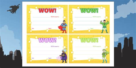 wow card template wow moment parent slips eyfs early years wow