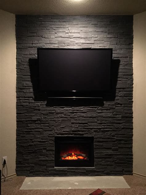 a fireplace transformed with cultured photos