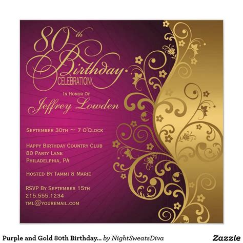 free 80th birthday card template 80th birthday invitations purple and gold invitation