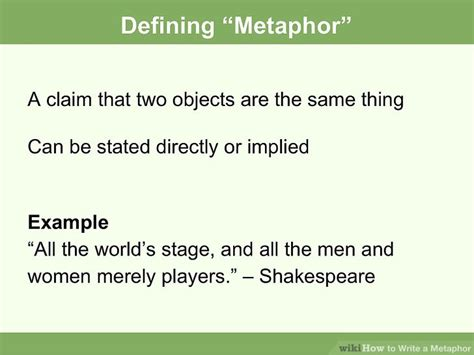 how to write a metaphor with exles wikihow