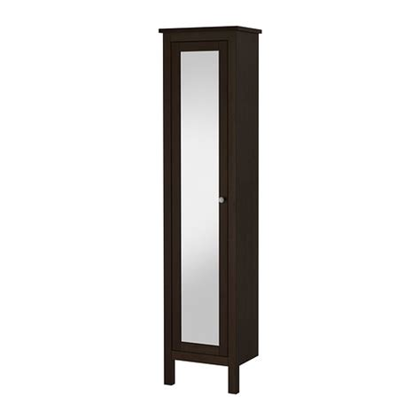 Hemnes High Cabinet With Mirror Door Black Brown Stain Mirror Door Bathroom Cabinet