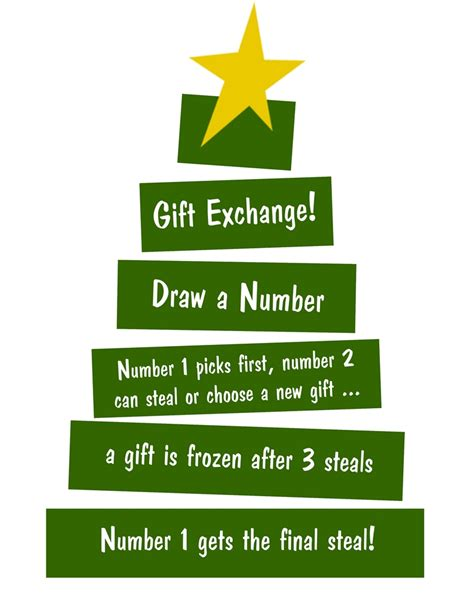 printable numbers for gift exchange a teenage christmas party