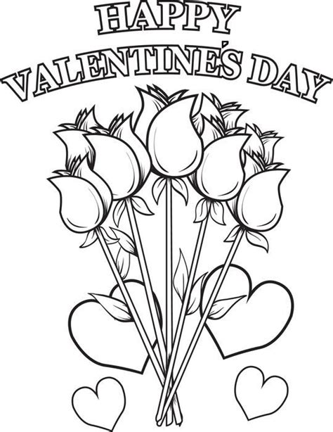 free printable valentine flowers happy valentine s day flowers coloring page free