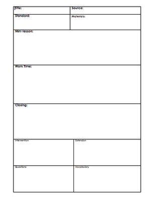 mini lesson plan template best 25 lesson plan templates ideas on