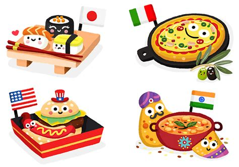 foods from around the world matthew illustration