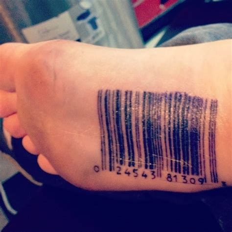 barcode tattoo fail bottom of the foot tattoos that only you and your shoes