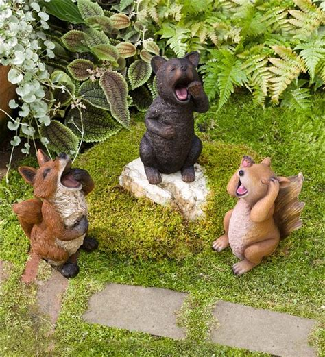 Animal Garden Accents Sleepy Yawning Animal Garden Statue Garden Statuary