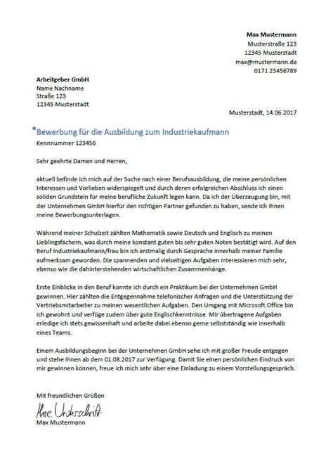 Bewerbungbchreiben Zum Industriekaufmann Ausbildung bewerbung als industriekaufmann industriekauffrau