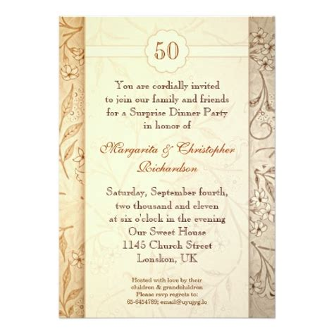 invitation cards for wedding anniversary 50 golden wedding anniversary invitation card