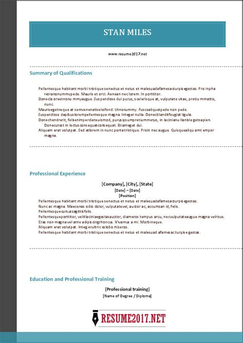 Combination Resume Format 2017 Combination Resume Template 2017