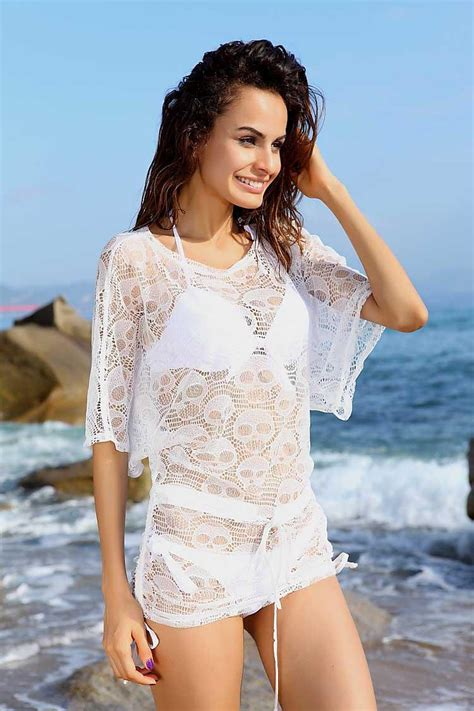 2018 sheer skull wear tunic swim cover up dress