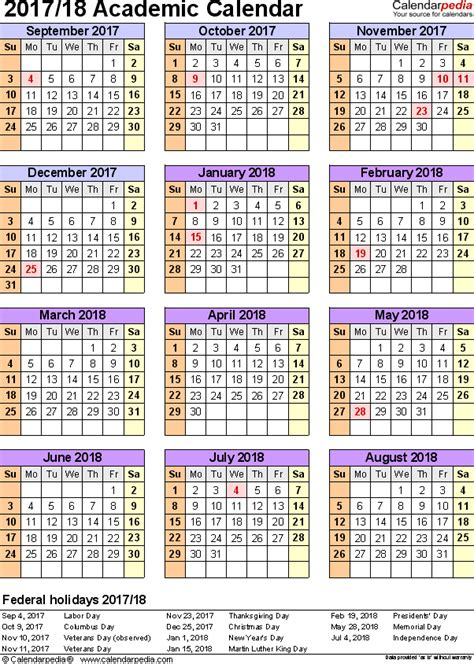 2018 2018 academic calendar template 2 academic calendars 2017 2018 as free printable pdf templates