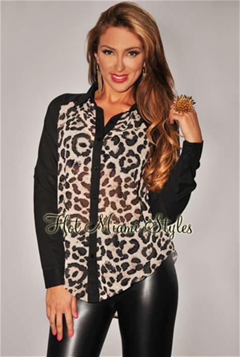 Blouse 2 Pieces Black Leopard black beige leopard print sheer blouse