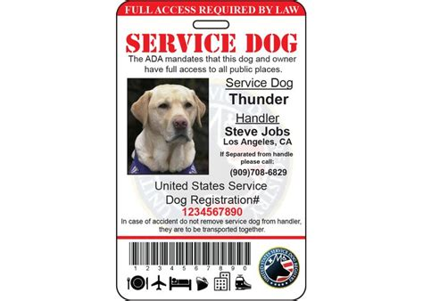 service animal id card template therapy service id card ada tag badge professional