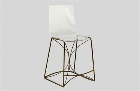 Lucite And Gold Bar Stools by Clear Acrylic Lucite Gold Bar Counter Stool Angela