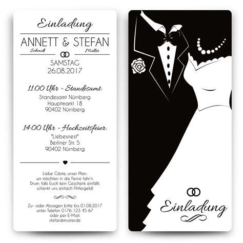 Einladungskarten Hochzeit Wei by Einladungskarten Hochzeit Black White Brautpaar Wei 223