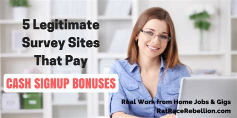 Legitimate Survey Sites For Money - 5 legitimate survey sites that pay cash signup bonuses real work from home jobs by