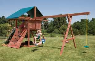 Wooden Swing Sets Crafted Wood Swing Sets With 3 Swings Three Ring Adventure