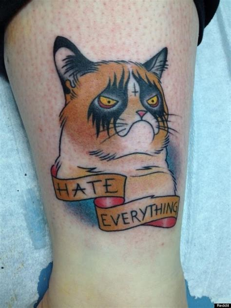 cat tattoo buzzfeed grumpy cat tattoo is permanently hilarious photo huffpost