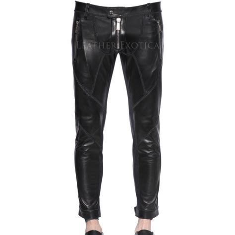 leather motorcycle pants patchwork leather biker pants for men