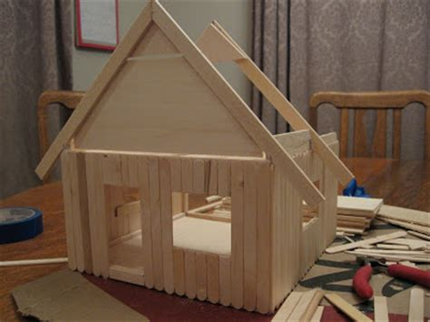 how to make a doll house with popsicle sticks almost unschoolers basswood and popsicle stick doll house man of the house style