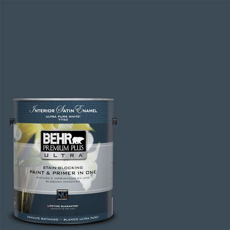 behr premium plus ultra 1 gal ppu15 13 blue hydrangea satin enamel interior paint 775401 the