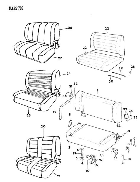 jeep wrangler seat parts covers and frame with pad rear seat wrangler yj
