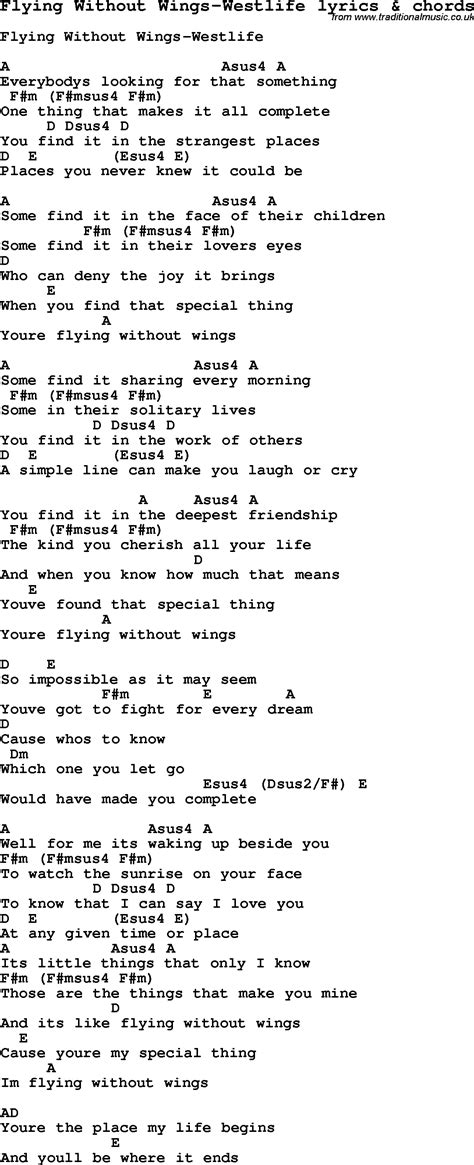 printable wings lyrics love song lyrics for flying without wings westlife with
