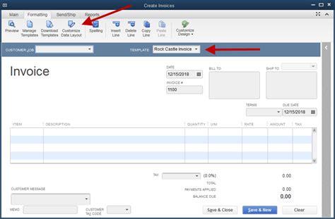 invoice template quickbooks  excel templates
